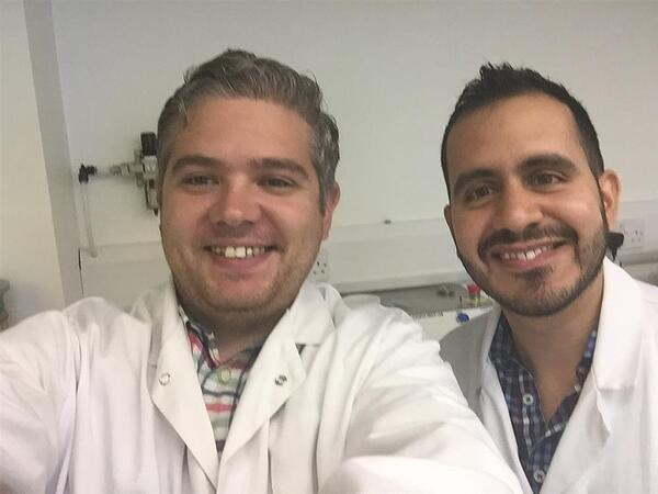 Aaron Quinn and Alejandro Lopez from Uppsala University in the Laboratory at Caleva