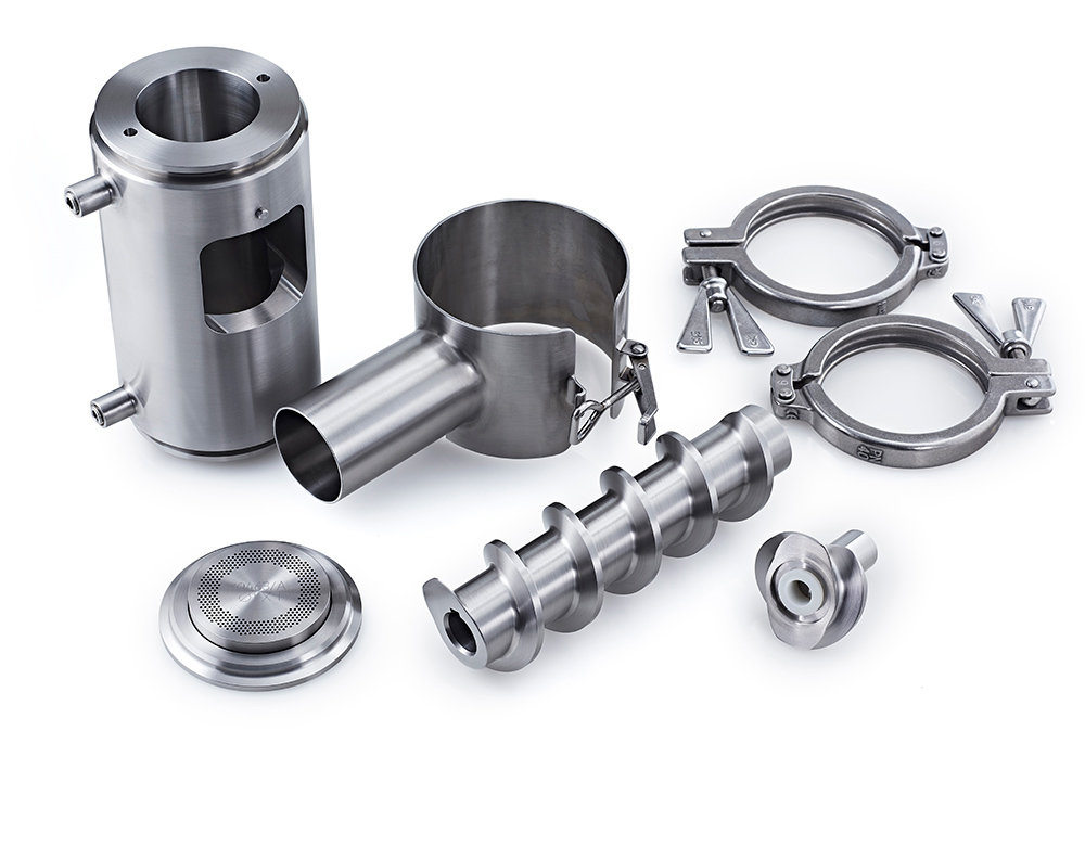Caleva Variable Density Kit axial extrusion attachment components shown diassembled
