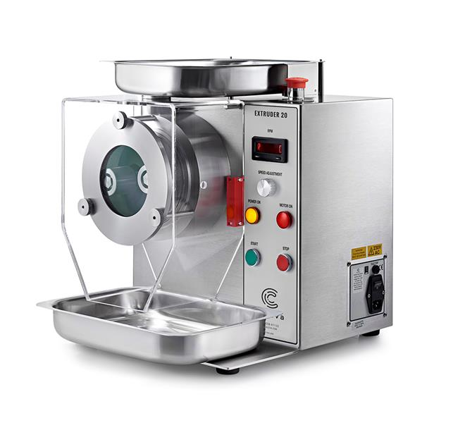 Caleva 1.5kg Multi Bowl Spheronization Kit Extruder 20 with full Height screen, Safety Cover and collection tray in place