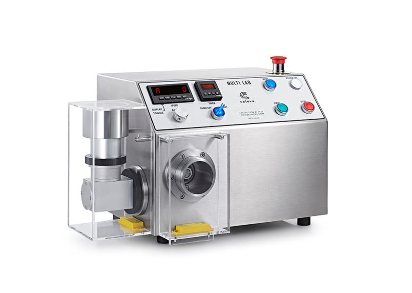 Caleva Multi Lab for Industry Research and Development with spheronizer attachment and safety cover in place