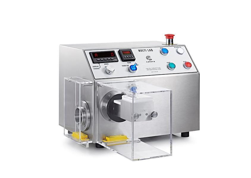 Caleva Multi Lab for teaching with Mixer and safety cover attached