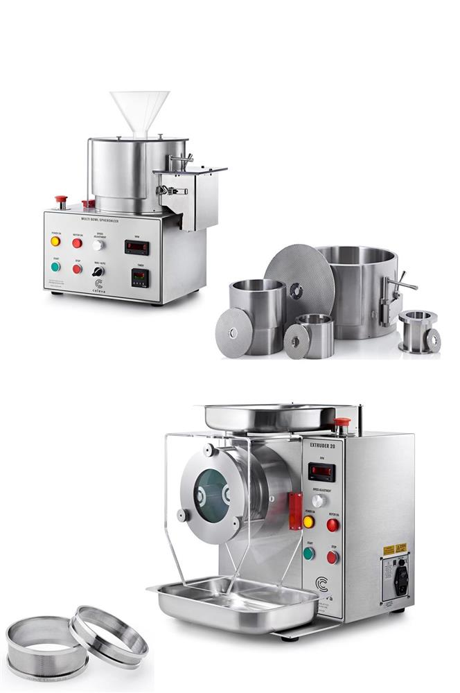 Caleva Multi-Bowl Spheronization Kit range of spheronizer bowl or drum sizes 250mm 120mm 85mm and 60mm