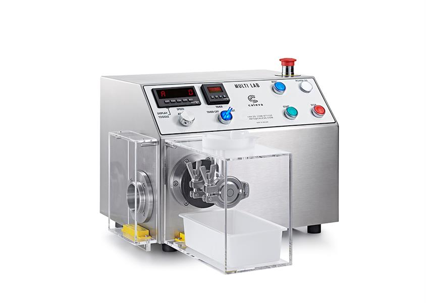 Caleva Multi Lab for teaching with extruder attachment and safety cover in place
