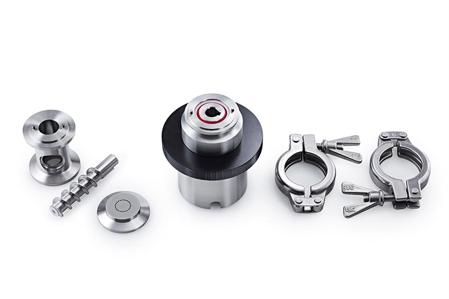 Caleva Multi Lab for teaching Extruder Attachment components shown disassembled