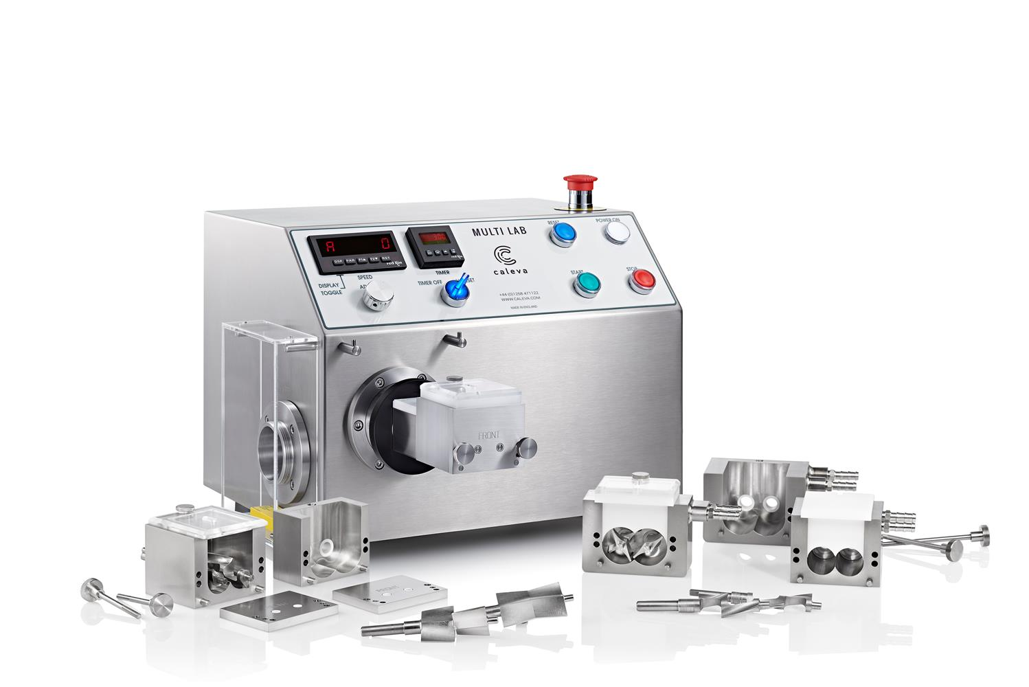 The Caleva mixer granulator blender with different mixing bowl sizes and blade configurations