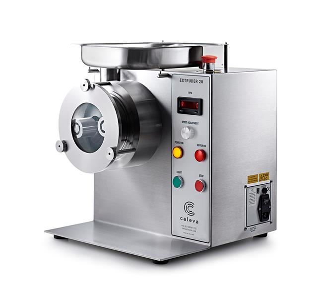 Caleva 1.5kg Multi-Bowl Spheronization Kit Extruder 20 with full Height screen in place Safety Cover and collection tray removed