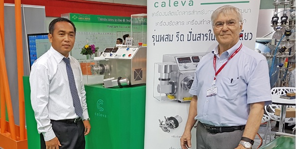 Nikhom Pijarn from Absolute and Steve Robinson from Caleva in Thailand with the Caleva Mult Lab at Pro Pack Asia Exhibition