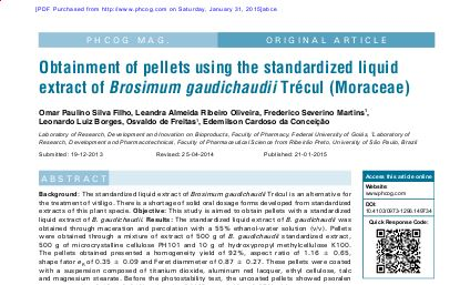 Obtainment of Pellets Using the Standardized Liquid Extract of Brosium Gaudichaudii Trécu